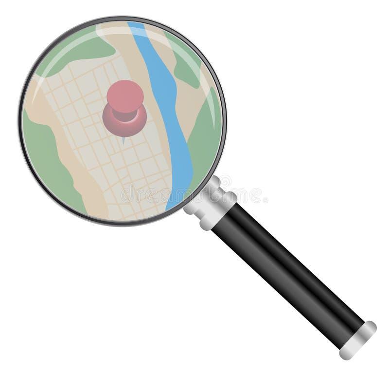 Vergrootglas en Kaart vector illustratie