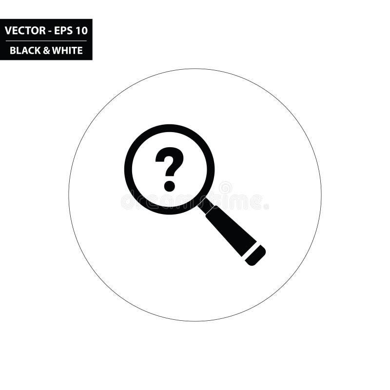 Vergrootglas en vraagteken zwart-wit vlak pictogram royalty-vrije illustratie