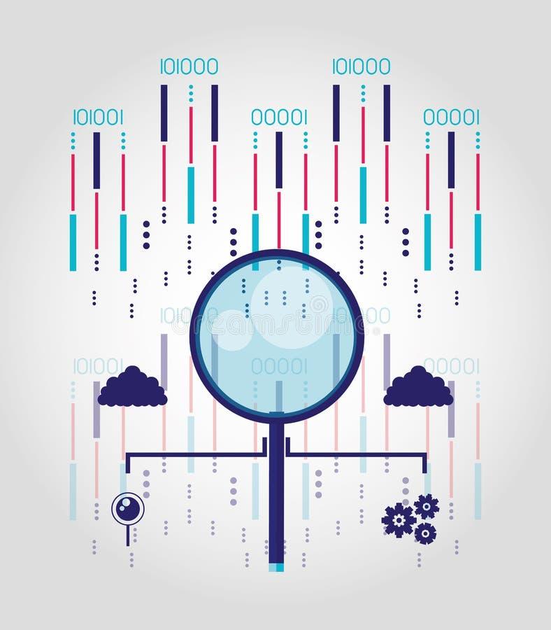 Vergrootglas met datacentrum en kringen royalty-vrije illustratie