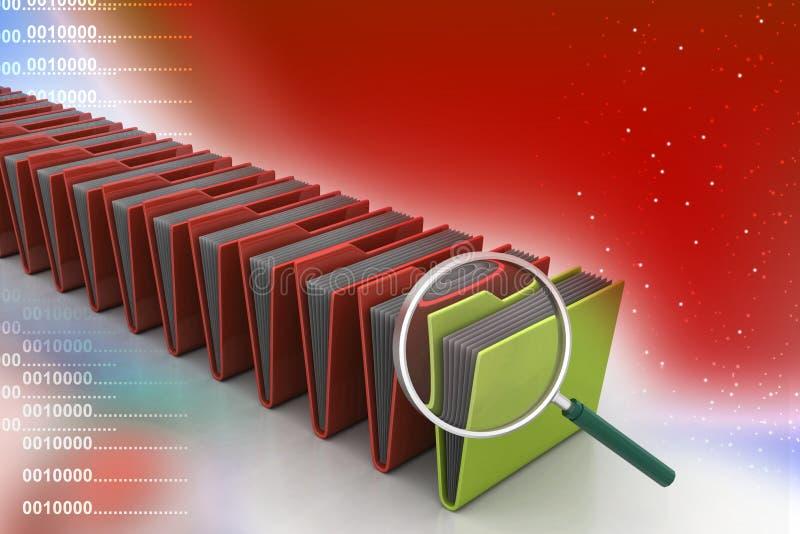 Vergrootglas met dossieromslag vector illustratie