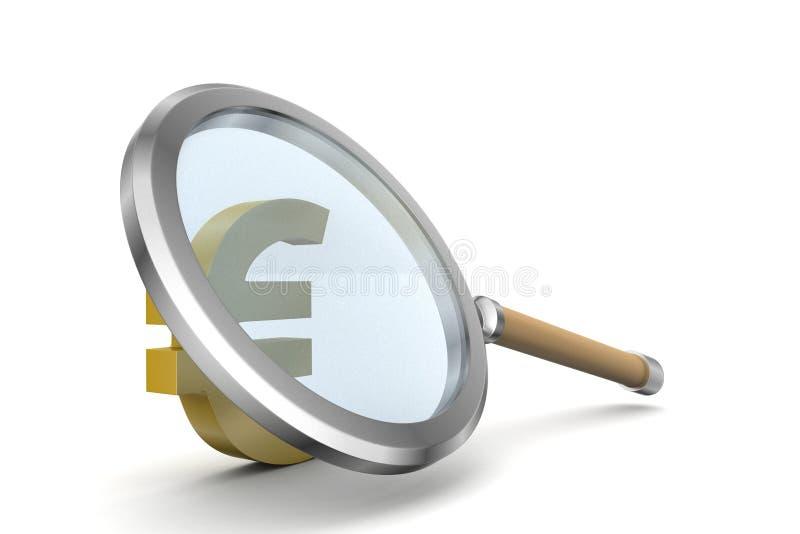 Vergrootglas met euro stock illustratie