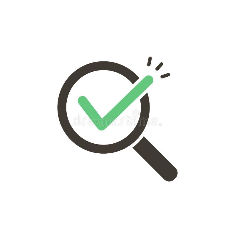 Vergrootglas met groene controletik het vectorontwerp van de pictogramillustratie Voor concepten onderzoek, gevonden resultaten,  vector illustratie