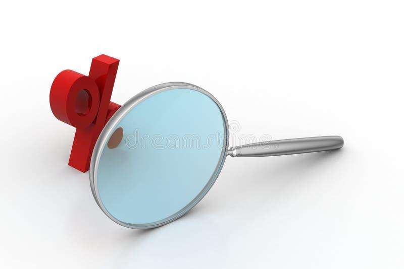 Vergrootglas met percentageteken vector illustratie
