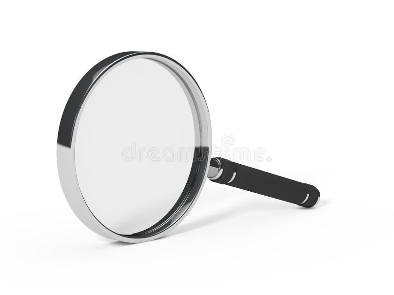 Vergrootglas minder chroom stock illustratie