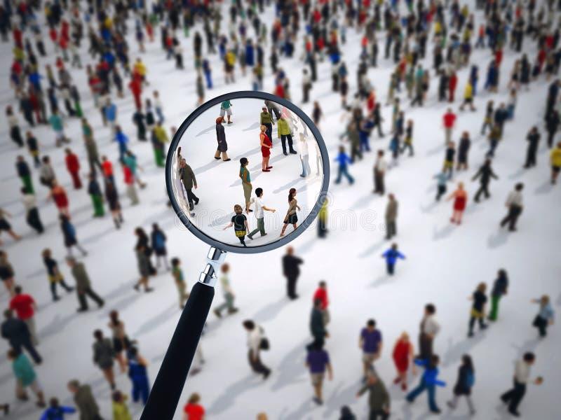 Vergrootglas op een grote groep mensen het 3d teruggeven royalty-vrije illustratie