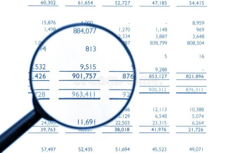 Vergrootglas op Financiële Balans stock afbeeldingen