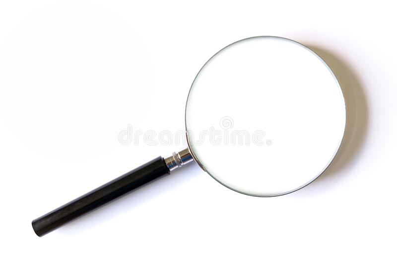 Vergrootglas op Witte Achtergrond stock afbeelding