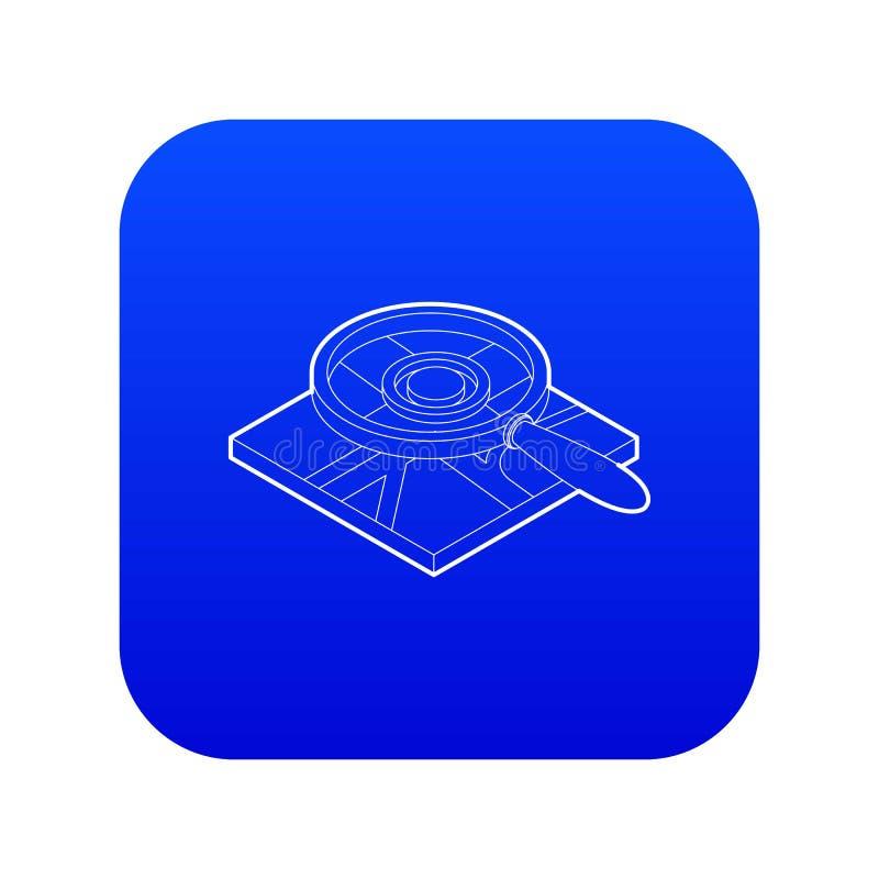 Vergrootglas over de blauwe vector van het kaartpictogram vector illustratie
