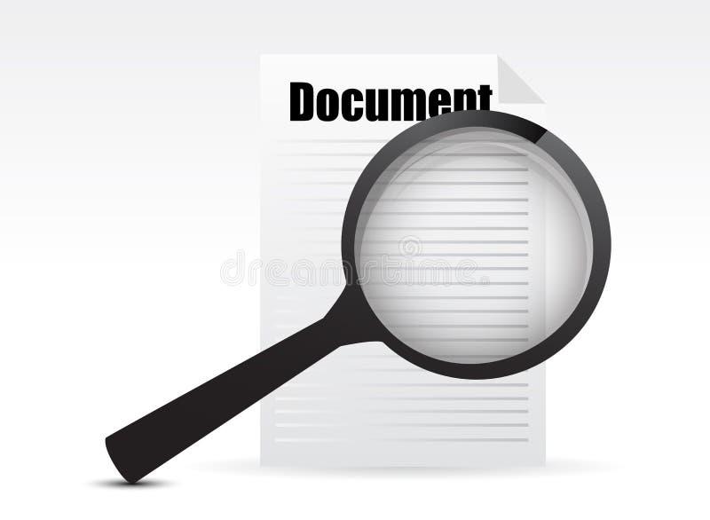 Vergrootglas - zoek het document vector illustratie