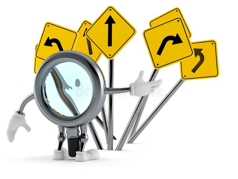Vergrootglaskarakter met verkeersteken wordt verward die stock illustratie