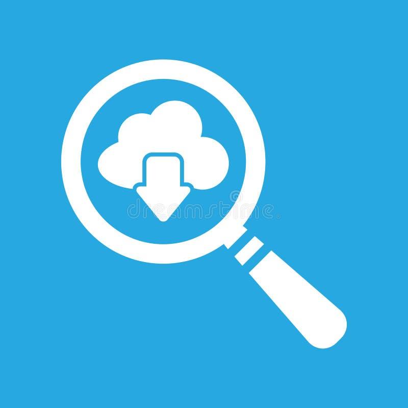 Vergrootglaswolk het pictogram van de gegevensverwerkingsdownload op een blauw stock illustratie
