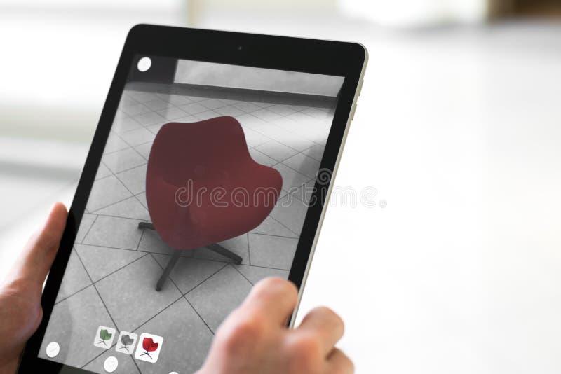 Vergrote werkelijkheid app die - meubilair plaatsen in de ruimte van AR stock afbeeldingen