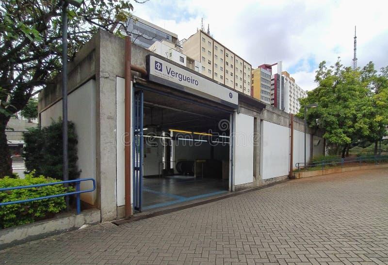Vergueiro-stationen i Sao Paulo, Brasilien royaltyfri fotografi