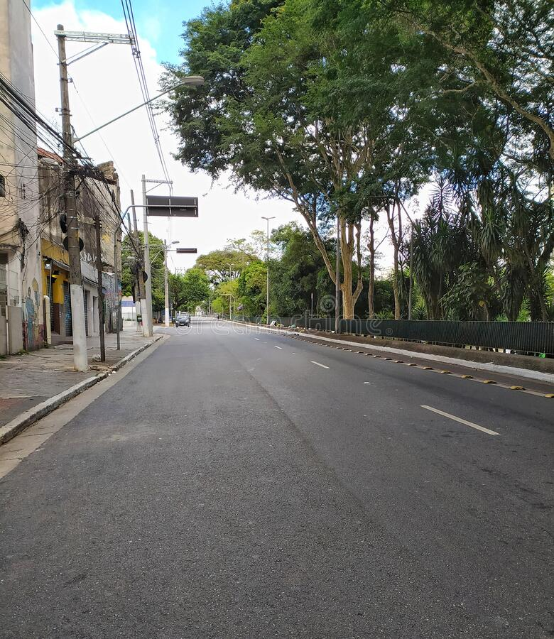 Vergueiro street in Sao Paulo, Brazil. Vergueiro street is one of the famous streets of the city. It is notable for hosting many hospitals and universities royalty free stock photo