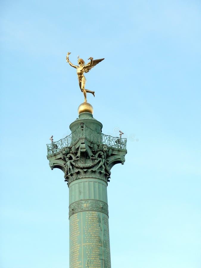 Verguld standbeeld Genie DE La Liberte royalty-vrije stock afbeelding