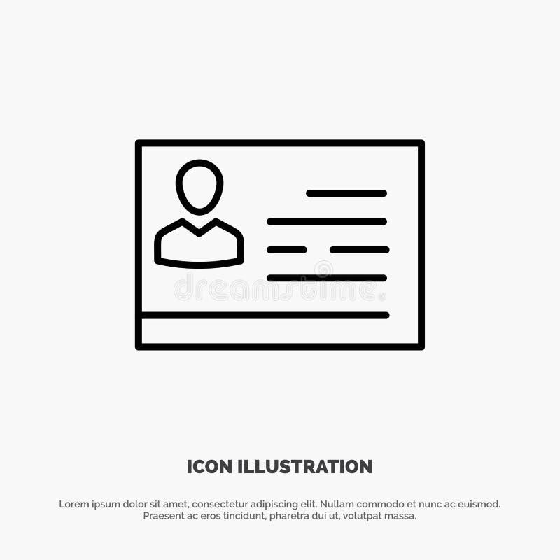 Vergunning aan het Werk, Vergunning, Kaart, Identiteitskaart, Identiteitskaart-de Vector van het Lijnpictogram vector illustratie