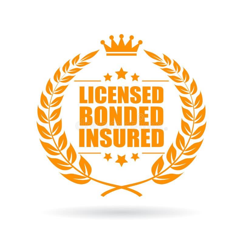 Vergunning gegeven verzekerd bedrijfspictogram in entrepot royalty-vrije illustratie