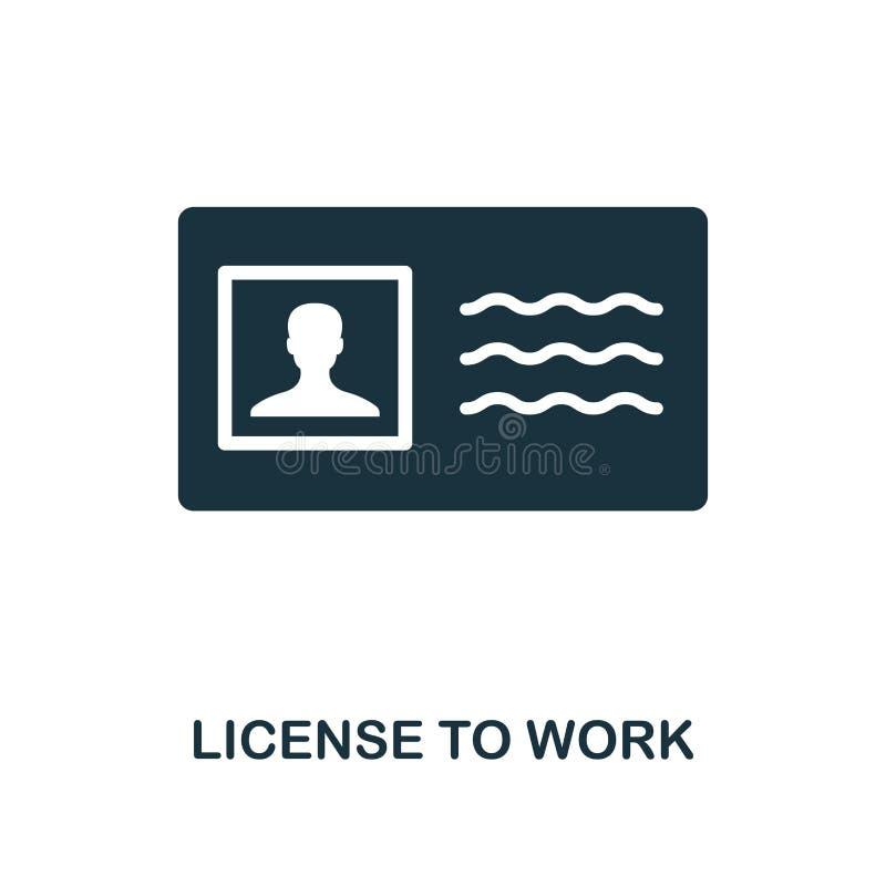 Vergunning om pictogram te werken Zwart-wit stijlontwerp van de inzameling van het bedrijfsethiekpictogram UI en UX Pixel perfect vector illustratie