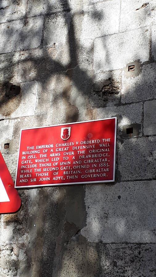 Verhaal op de Stadsmuren van de Rots van Gibraltar royalty-vrije stock afbeelding