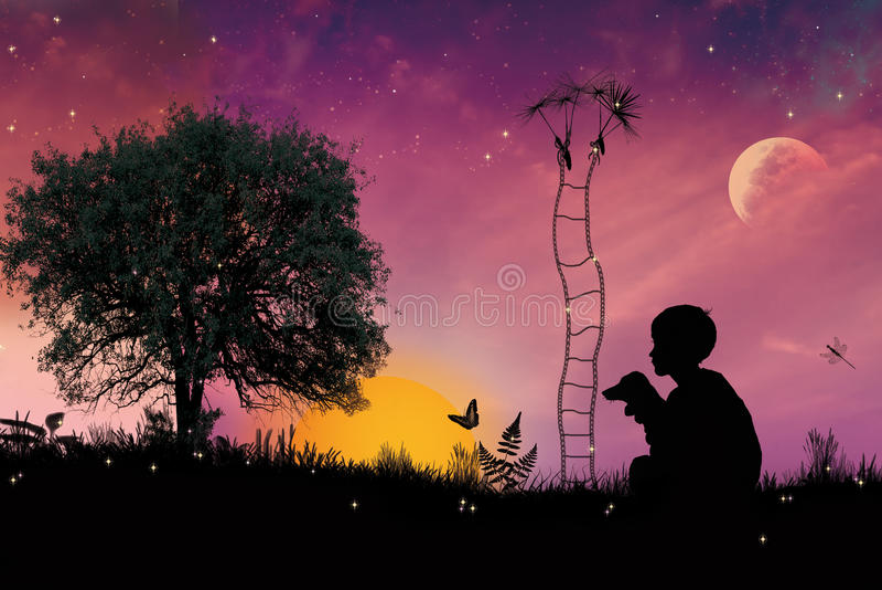 Verhaal van de kleine jongen vector illustratie