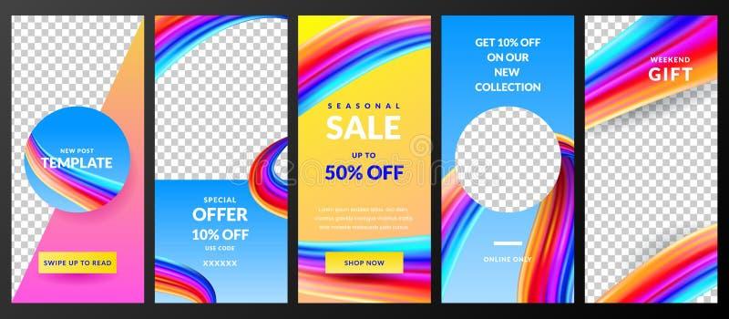 Verhalen vectormalplaatje voor het sociale netwerk van Instagram In ontwerp voor van de manierverkoop en speciale aanbieding vlie royalty-vrije illustratie
