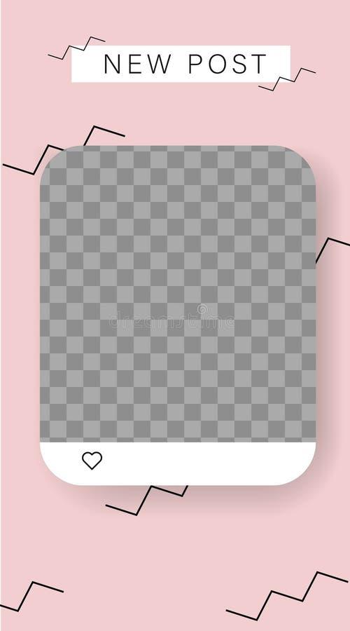 Verhalenmodel Editablemalplaatje voor sociale netwerkenverhalen Het frame van de foto Vectordieillustratie op transparante achter vector illustratie