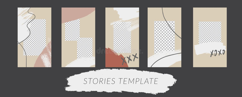 In verhalenontwerpsjabloon voor sociale media De bevordering van het maniermerk op webtoepassing stock fotografie