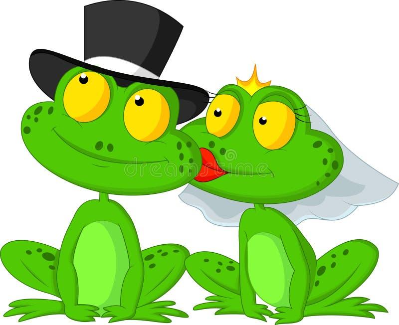 Verheiratetes Froschkarikaturküssen lizenzfreie abbildung