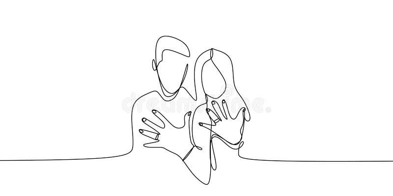 Verheiratetes Paar, das seinen und ihren Ring nach der Heirat mit ununterbrochener einzelner Linie Kunstzeichnungsvektor zeigt vektor abbildung