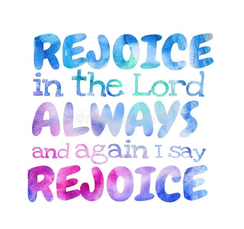 Verheug me in Lord Always And dat ik - Affiche verheug gezegd=heb= me stock foto