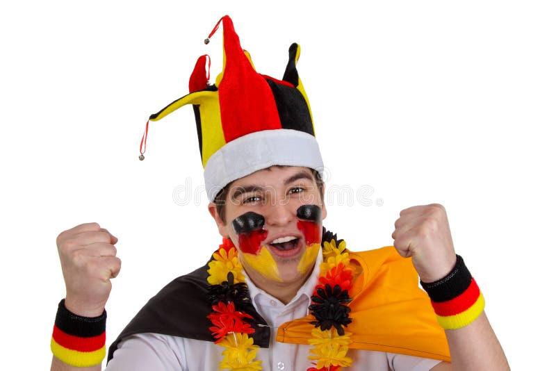 Verheven Duitse voetbalventilator royalty-vrije stock afbeelding