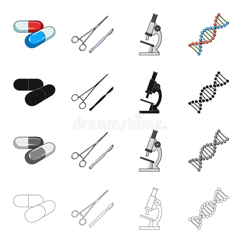 Verhinderung, Medizin, Krankenhaus und andere Netzikone in der Karikaturart Kapseln, Tabletten, Medizin, Ikonen in der Satzsammlu vektor abbildung