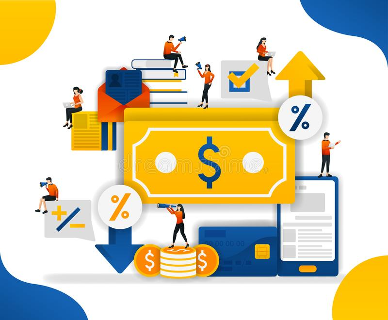 Verhoging en daling van prijzen op geld en goederengoederen geld die percentage van munt, concept vectoril handel drijven te bepa stock illustratie