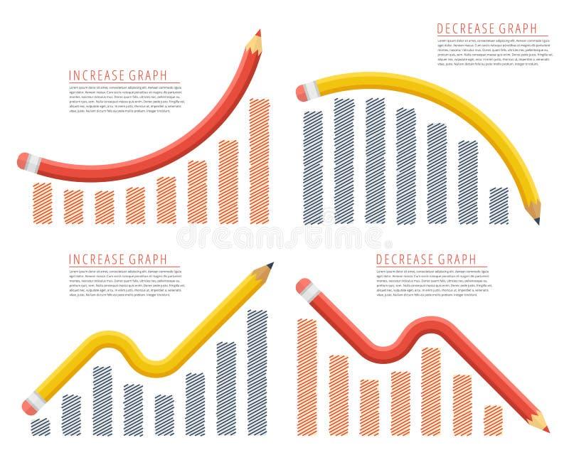 Verhoging, recessie, de groei, daling, vermindering, succeszaken royalty-vrije illustratie