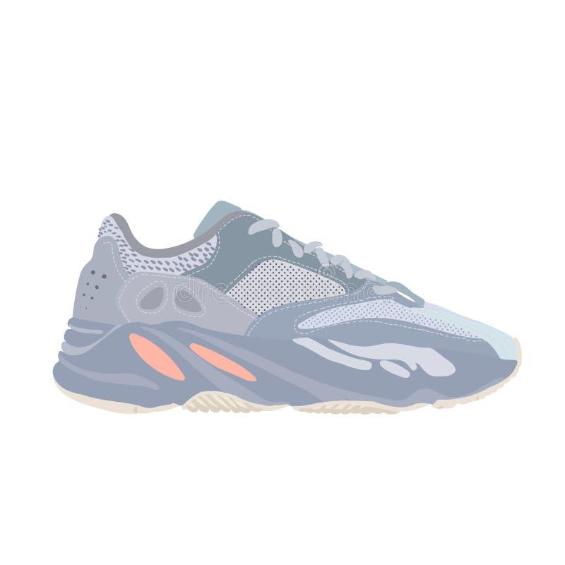 Verhoging 700 van Adidas Yeezy de schoen van de Inertietennisschoen Concept Vlak Ontwerp Vector illustratie Tennisschoenen in vla royalty-vrije illustratie