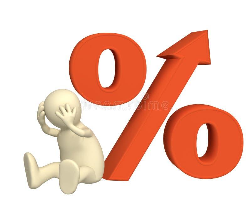 Verhoging van de rentevoet onder kredieten vector illustratie