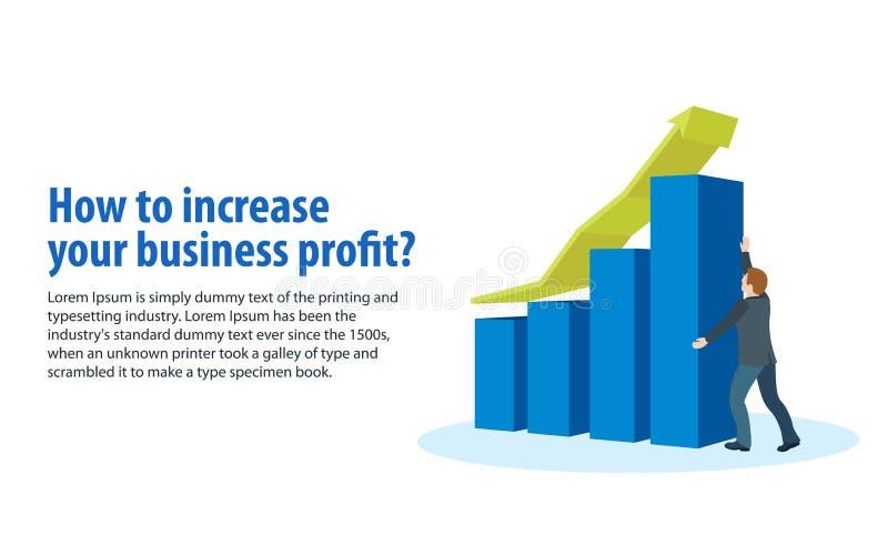 Verhogings bedrijfswinsten De verkoopgroei en opbrengst, bedrijfsontwikkeling Banner in een vlakke 3d stijl Een mens in pakhol stock illustratie