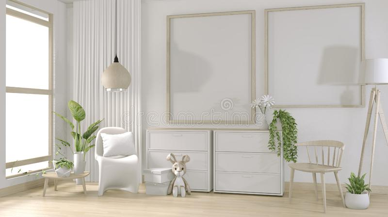 Verhoog de positie: maak een indruk van het posterframe en een minimaal ontwerp van de witte woonkamer 3D-rendering stock illustratie