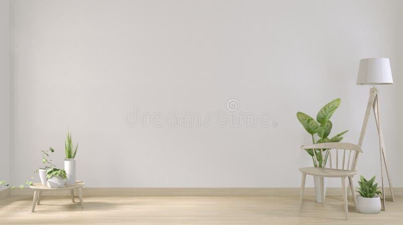 Verhoog de positie: maak een indruk van het posterframe en een minimaal ontwerp van de witte woonkamer 3D-rendering royalty-vrije illustratie