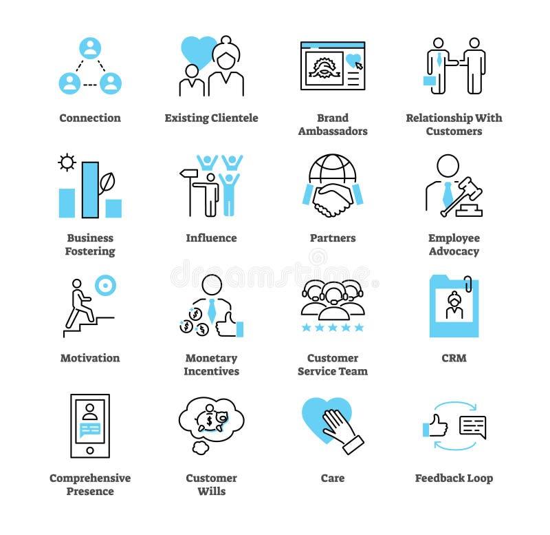 Verhouding marketing de reeks van de pictograminzameling Bedrijfs commerciële strategie royalty-vrije illustratie