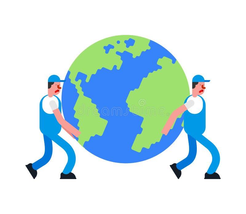 Verhuizers en Aarde De portiers dragen planeet De dienst van de levering De mensenholding van de laderverhuizer Bewegende Vectori vector illustratie
