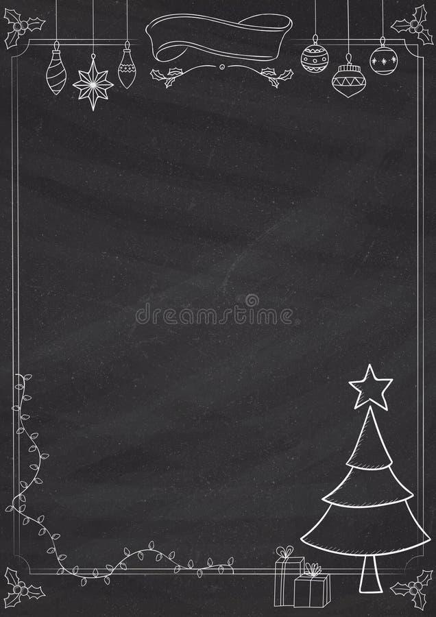 verical christmas blackboard-border stock illustration