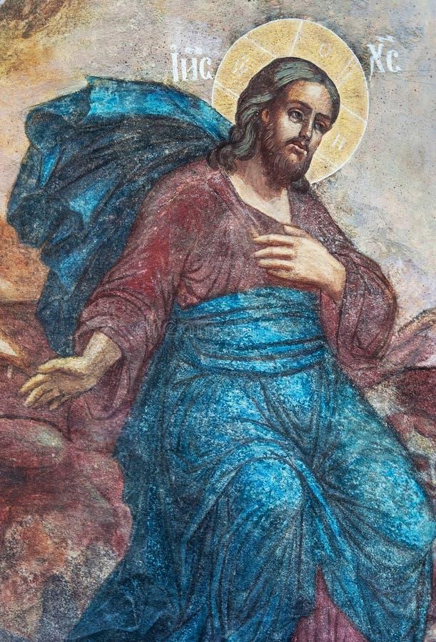 Verical czerep malowidło ścienne obraz jezus chrystus w Tolga monasterze zdjęcia royalty free