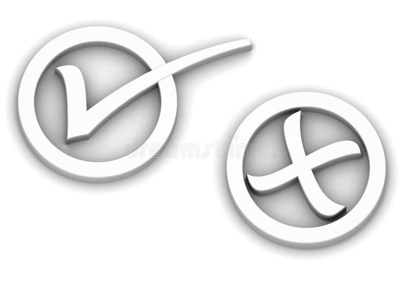 Verific e cruze marcas ilustração stock