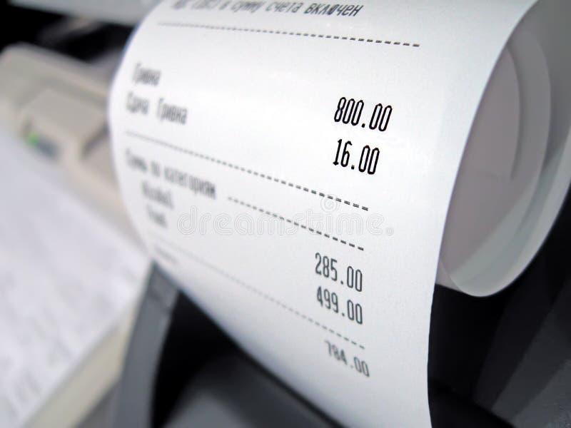 Verificação abstrata do supermercado com números, imagens de stock