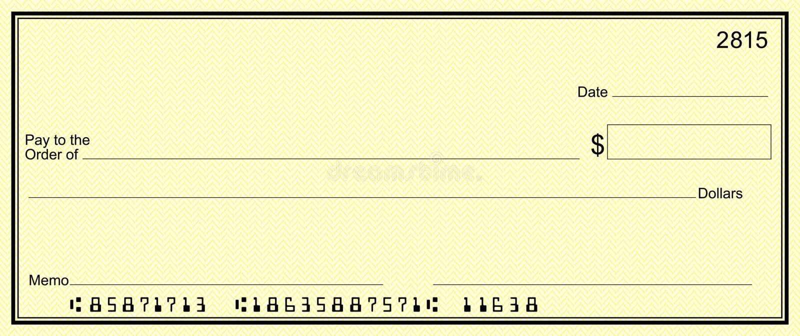 Verificação amarela com números de cliente falsos ilustração do vetor