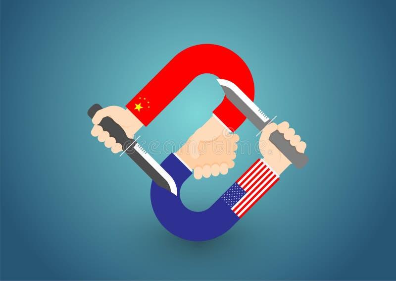 Verificação da mão do negócio da bandeira de América e de China com a faca stabbed na ilustração do projeto de conceito da parte  ilustração do vetor