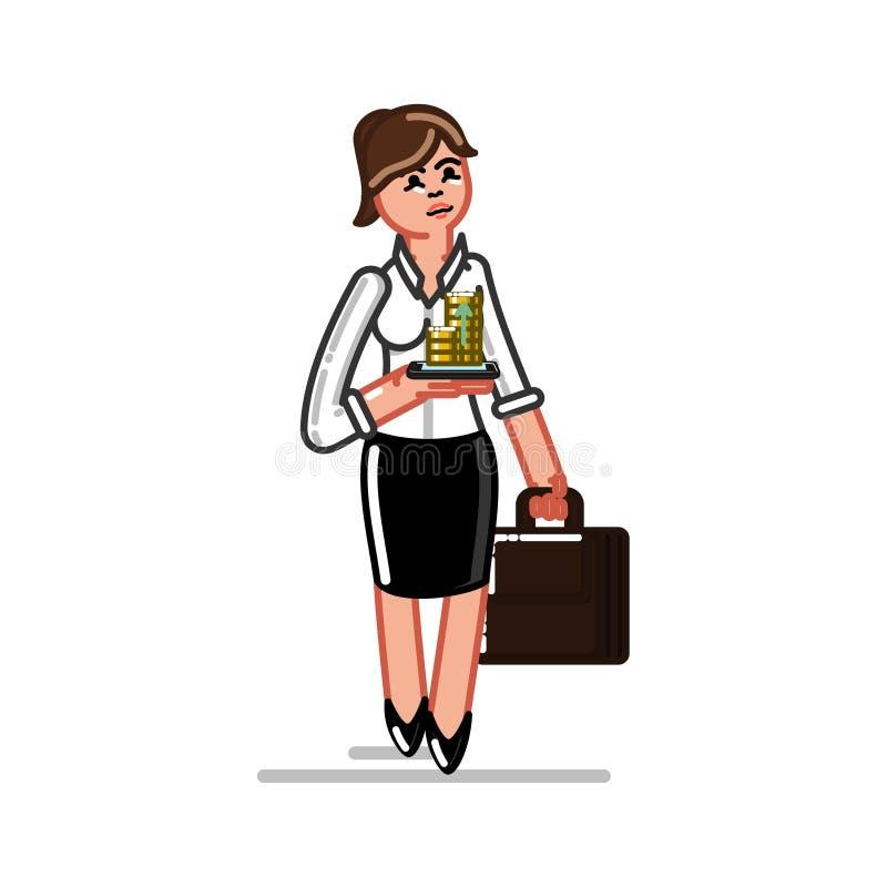 Verificação da mulher de negócio ilustração royalty free