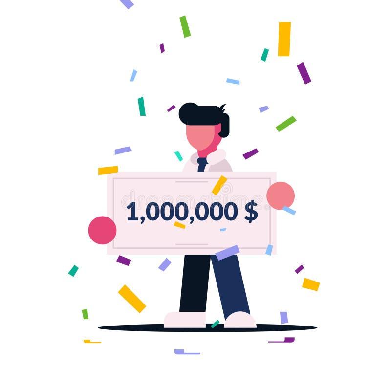 Verificação de vencimento para uma grande quantidade O homem ganhou a loteria Homem afortunado vencedor da concessão Caráter liso ilustração do vetor