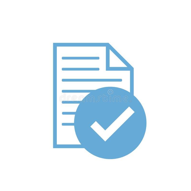 A verificação do ícone, empresa passou a inspeção - estilo liso ilustração royalty free